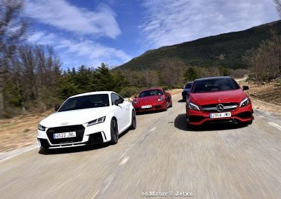 audi tt rs vs porsche cayman s 718 vs mb a-45 amg vs bmw m240i-35