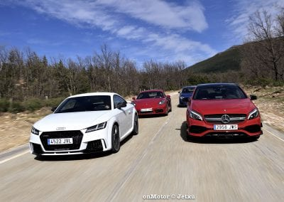 audi tt rs vs porsche cayman s 718 vs mb a-45 amg vs bmw m240i-36