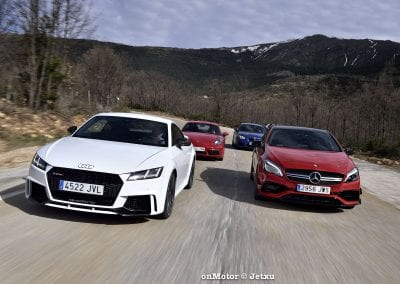 audi tt rs vs porsche cayman s 718 vs mb a-45 amg vs bmw m240i-37