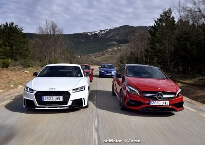 audi tt rs vs porsche cayman s 718 vs mb a-45 amg vs bmw m240i-38
