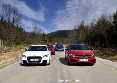 audi tt rs vs porsche cayman s 718 vs mb a-45 amg vs bmw m240i-39