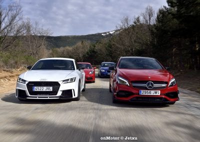 audi tt rs vs porsche cayman s 718 vs mb a-45 amg vs bmw m240i-40
