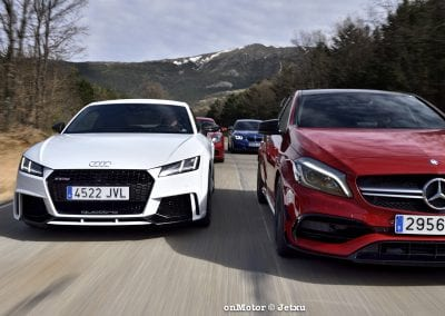 audi tt rs vs porsche cayman s 718 vs mb a-45 amg vs bmw m240i-41