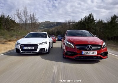 audi tt rs vs porsche cayman s 718 vs mb a-45 amg vs bmw m240i-42