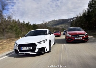 audi tt rs vs porsche cayman s 718 vs mb a-45 amg vs bmw m240i-43