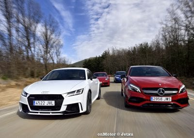 audi tt rs vs porsche cayman s 718 vs mb a-45 amg vs bmw m240i-44