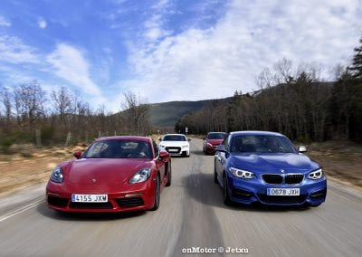 audi tt rs vs porsche cayman s 718 vs mb a-45 amg vs bmw m240i-45