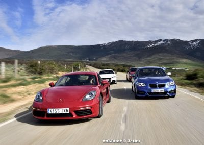 audi tt rs vs porsche cayman s 718 vs mb a-45 amg vs bmw m240i-47