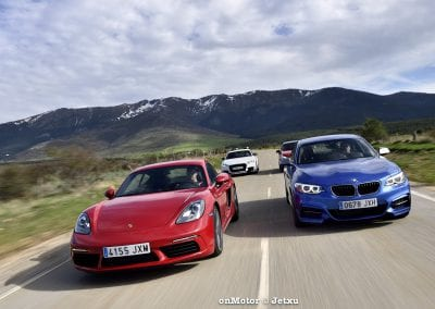 audi tt rs vs porsche cayman s 718 vs mb a-45 amg vs bmw m240i-48