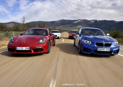 audi tt rs vs porsche cayman s 718 vs mb a-45 amg vs bmw m240i-50