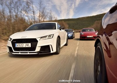 audi tt rs vs porsche cayman s 718 vs mb a-45 amg vs bmw m240i-51