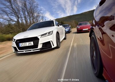 audi tt rs vs porsche cayman s 718 vs mb a-45 amg vs bmw m240i-52