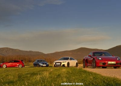 audi tt rs vs porsche cayman s 718 vs mb a-45 amg vs bmw m240i-73