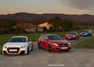 audi tt rs vs porsche cayman s 718 vs mb a-45 amg vs bmw m240i-75