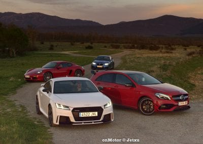 audi tt rs vs porsche cayman s 718 vs mb a-45 amg vs bmw m240i-76