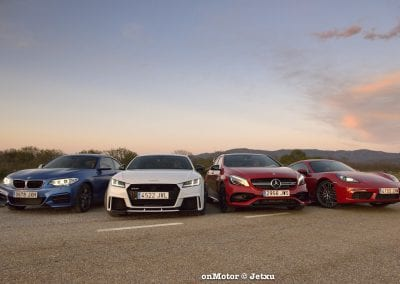 audi tt rs vs porsche cayman s 718 vs mb a-45 amg vs bmw m240i-77