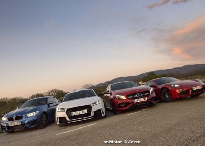 audi tt rs vs porsche cayman s 718 vs mb a-45 amg vs bmw m240i-78