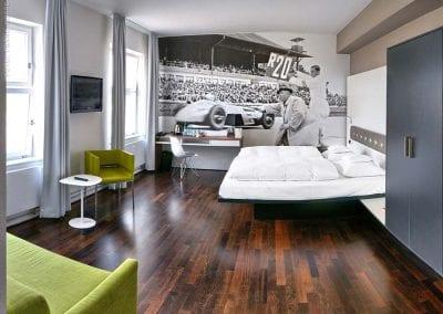V8Hotel - the double-rooms. V8 HOTEL - MOTORWORLD Region Stuttgart on the former airfield Boeblingen.